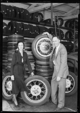 Ford wheel turn in publicity, Southern California, 1931