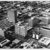 Aerial view of Koreatown facing north over Mid-Wilshire District (Koreatown), The Travelers Insurance Building, Sheraton Wilshire Hotel