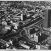 Aerial view over Downtown Los Angeles, Union Bank Square, Harbor Freeway, Unocal Center (formerly Union 76)