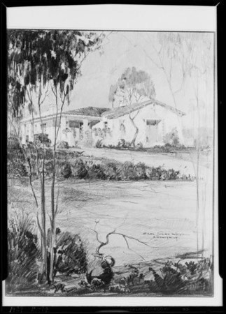 Copy of architect's drawing of house for Vermont Avenue Knolls, Southern California, 1929