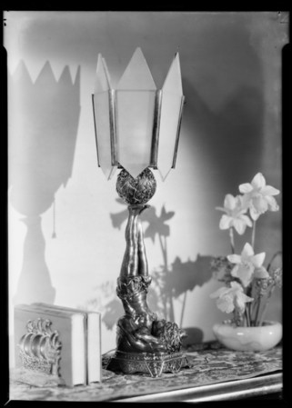 Modernistic lamp, Franklins Outfitting Co., Southern California, 1931