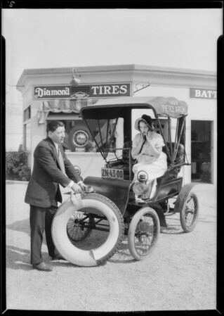 Diamond tires on Pierce-Arrow with Dorothy Granger, Southern California, 1930