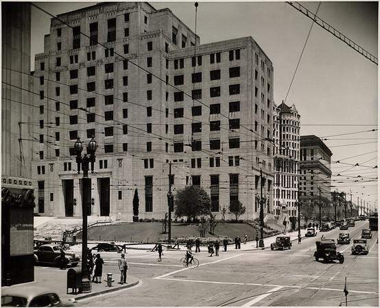 Facing north on Spring Street in Downtown Los Angeles past the old Courthouse, Hall of Records, and Hall of Justice