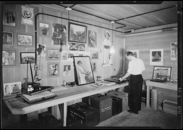 Studio shots, taking photos, Whittington, Southern California, 1929