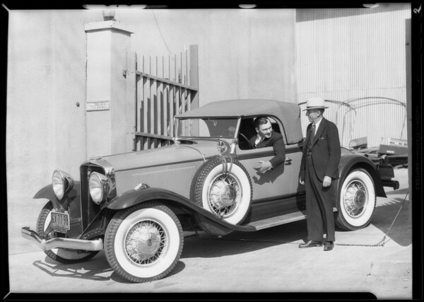 Paul Hurst and new Studebaker, Southern California, 1930
