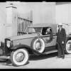 Paul Hurst and new Studebaker, Southern California, 1930