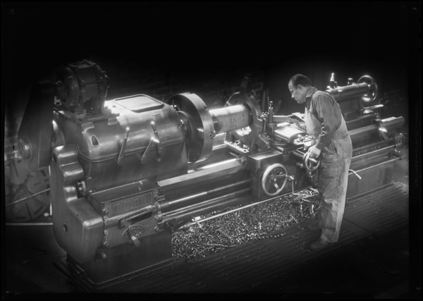 Lathe for cover cut, Southern California, 1931