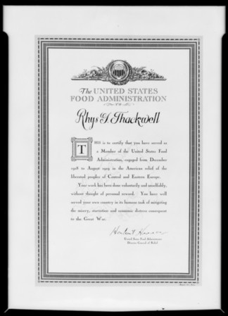 Food Administration certificate, Southern California, 1931