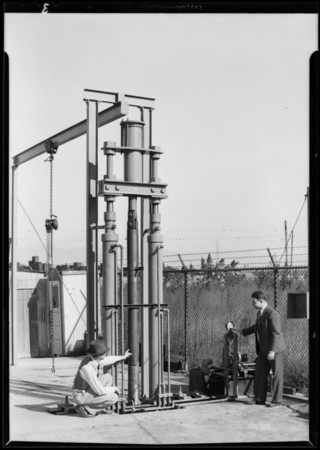 Pump rod parts and rotary drilling jar set up, Axelson Co., Southern California, 1931