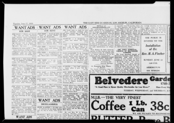 Old newspaper, Southern California, 1931