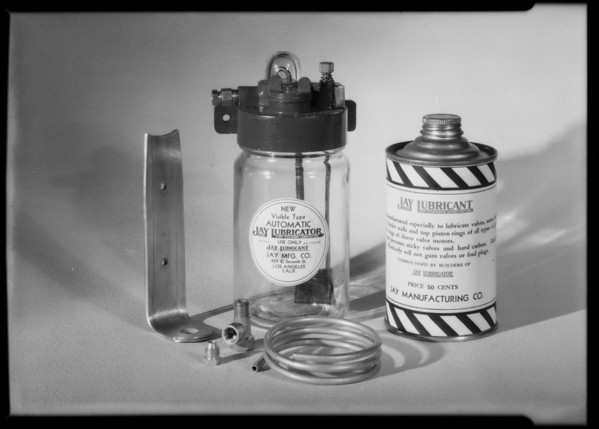 Lubricator & can of lubricant, Southern California, 1931
