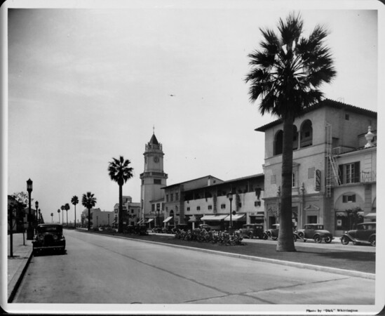 View of car-lined street in Westwood Village