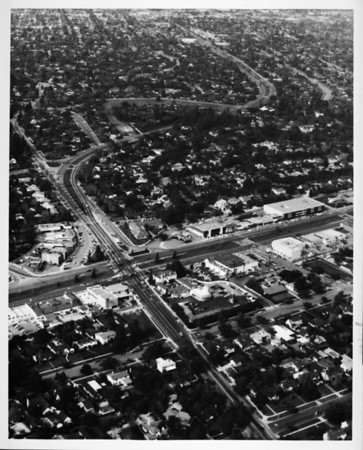 Aerial view facing north over the intersection of Huntington Drive and Winston Avenue in San Marino, southeast of the Huntington Library
