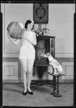 Pat O'Grady with radio, new ones with the dog, Majestic Radio, Southern California, 1929