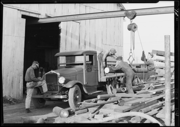 Crescent Tool Co. trucks near Signal Hill, Long Beach, CA, 1929
