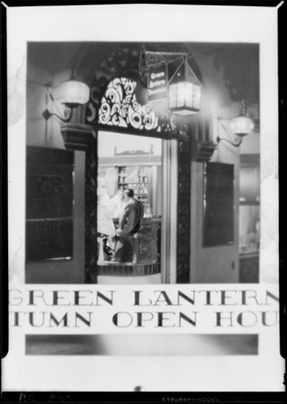 "Store entrance with ""Green Lantern"", Southern California, 1929"