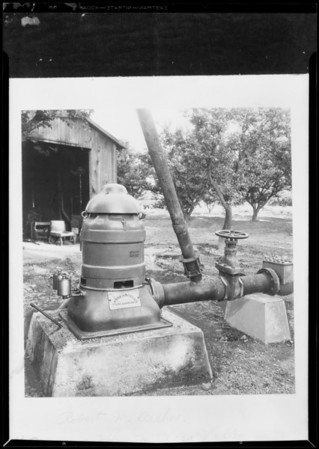 Pump in orchard, Southern California, 1931