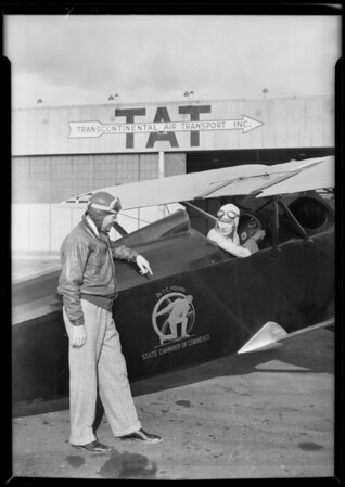 Dr. T.C. Young's airplane at Glendale, CA, 1930