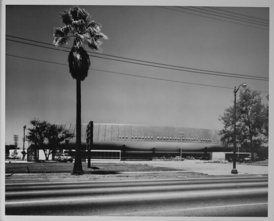 Los Angeles Memorial Sports Arena, newly constructed, front exterior view from across Figueroa Street