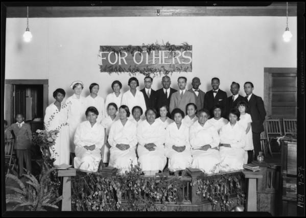 Nurses graduation exercises, Watts 7th Day Adventist Church, Los Angeles, CA, 1929