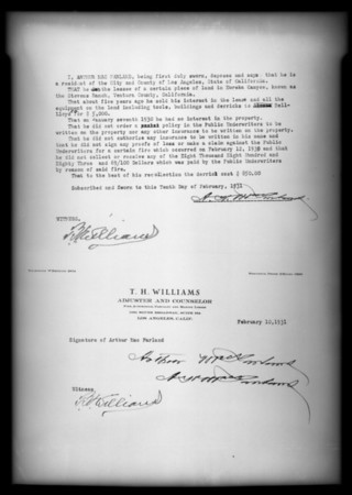 Sworn statement, T.H. Williams, Southern California, 1931