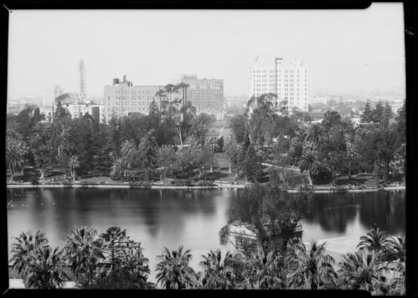 Westlake park looking West, Los Angeles, CA, 1931