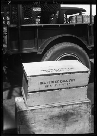 Crate of eggs for zeppelin, Southern California, 1929