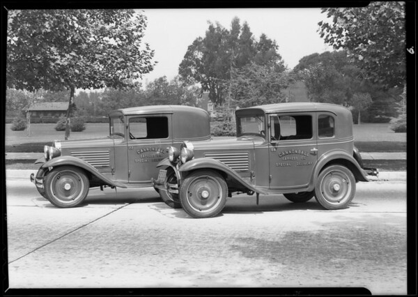 Cannonball delivery cars and Coliseum shots, Los Angeles, CA, 1930