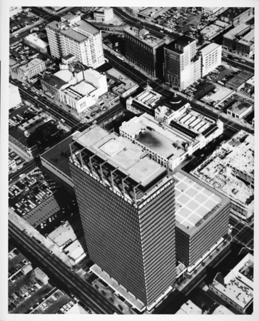 Aerial view over the Occidental Center in Downtown Los Angeles
