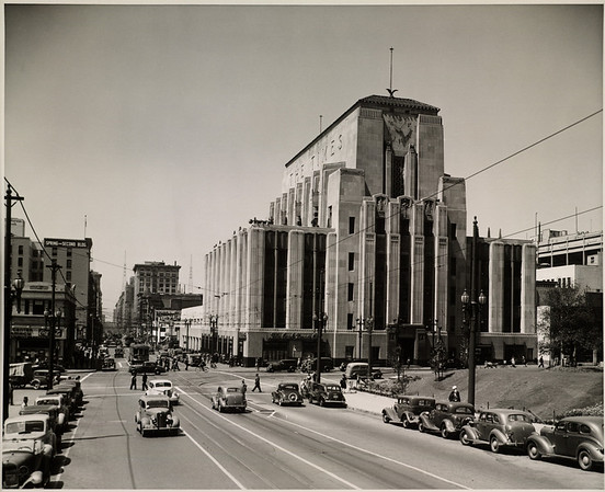 Facing south down Spring Street from in front of City Hall in Downtown Los Angeles
