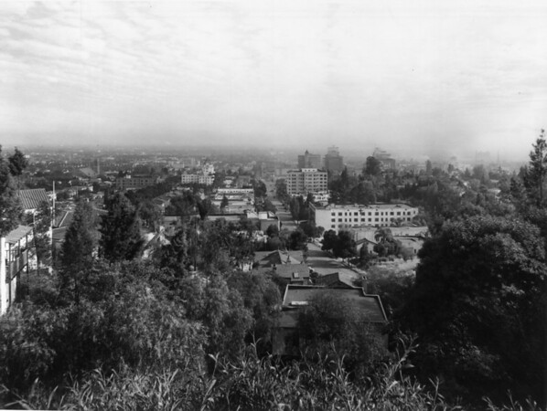 A high-angle view of the Hollywood area