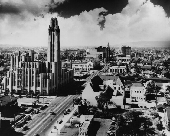 Aerial view of Wilshire Boulevard looking west from New Hampshire Street