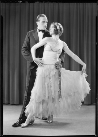 Dance poses with partner, Mrs. Kendall, Southern California, 1931