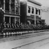 Shriner's parade in Los Angeles, standing at attention in front of Los Angeles Water Department, between 436 Hill Street and The Broxburn