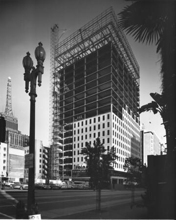 Building under construction, Atlantic Richfield tower, Milner Hotel