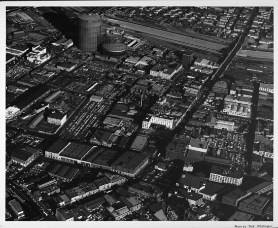 Aerial view, Downtown Los Angeles, First Street at Alameda Street, Central Avenue, Atcheson, Topeca & Sante Fe Railroads, Hollywood Freeway