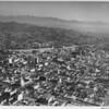 Aerial view, Hollywood Boulevard, Hollywood Freeway (US-101), Sunset Boulevard, facing northeast