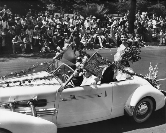 American Legion parade, Long Beach, float featuring Miss Chicago of 1938
