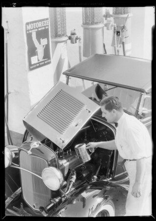 Filling new Ford with Motoreze, Southern California, 1932