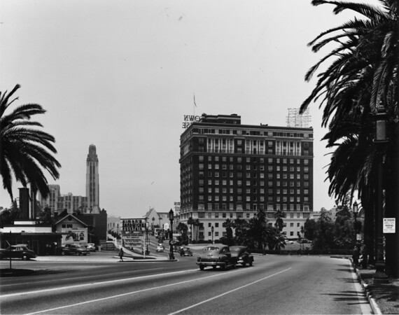 On Wilshire Boulevard at Hoover Street and Lafayette Park facing west towards the Town House building