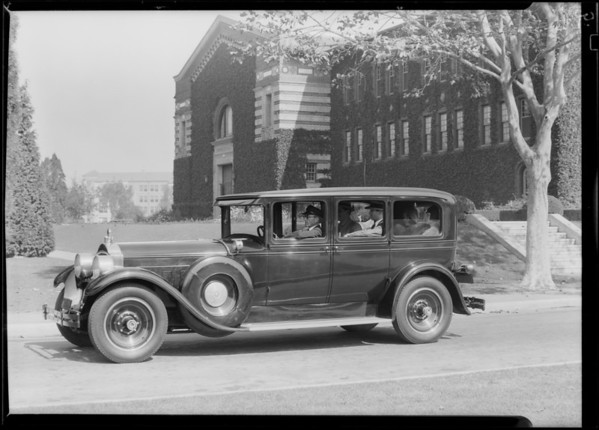 Tanner cars at Exposition Park for new folder, Los Angeles, CA, 1928