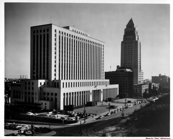 Looking west in the Civic Center in Downtown Los Angeles from the Federal Building / Post Office (300 North Los Angeles Street) to City Hall (at 200 North Spring Street)