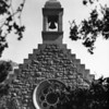 Shot of stone chapel bell tower at Forest Lawn Memorial Park