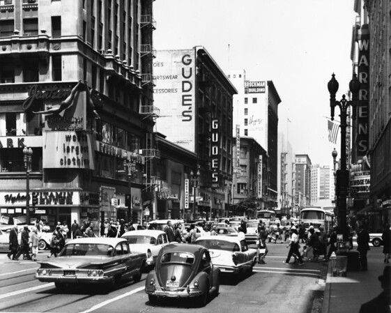 Seventh Street looking west from the intersection of Seventh Street and Hill Street, 1958