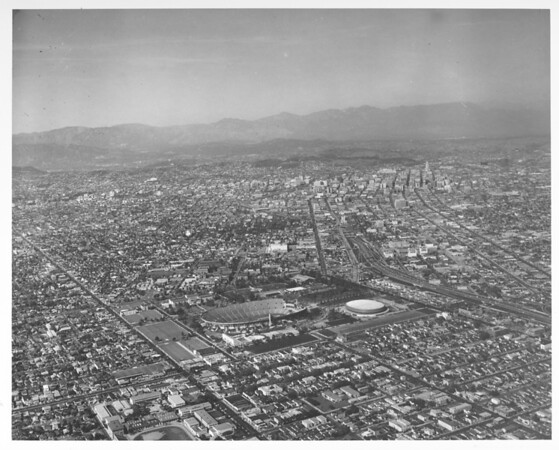 Aerial view of Los Angeles looking north from Exposition Park, University of Southern California (USC) campus, Harbor Freeway