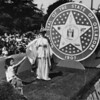American Legion parade, Long Beach, float featuring the state seal of Oklahoma