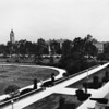 Aerial view of the Rose Garden, University of Southern California (USC) in background