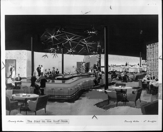 Artist's conception of the interior of the Star on the Roof Room at the Beverly Hilton Hotel