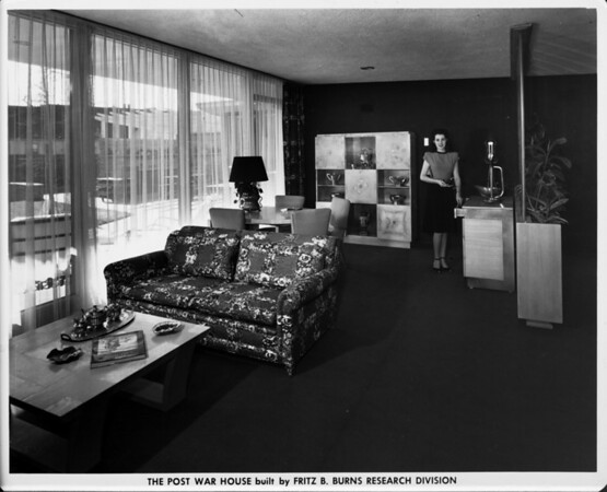 The Post War House built by Fritz B. Burns Research Division, home interior of 1948, entertainment area