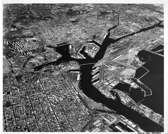 Aerial view of main channel to Los Angeles Harbor, Terminal Island, Long Beach Harbor, San Pedro, East San Pedro, Harbor Freeway, Vincent Thomas Bridge